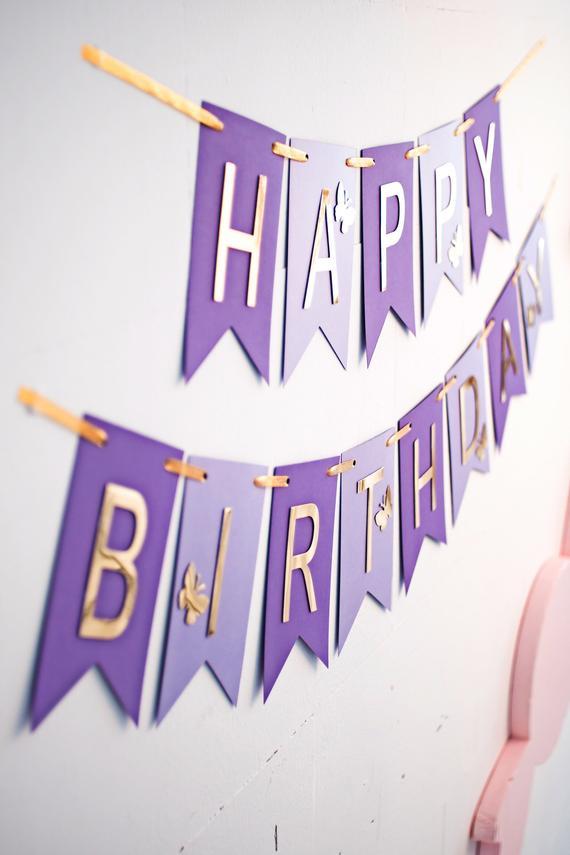 Purple Lavender Gold Birthday Banner, Happy Birthday Banner