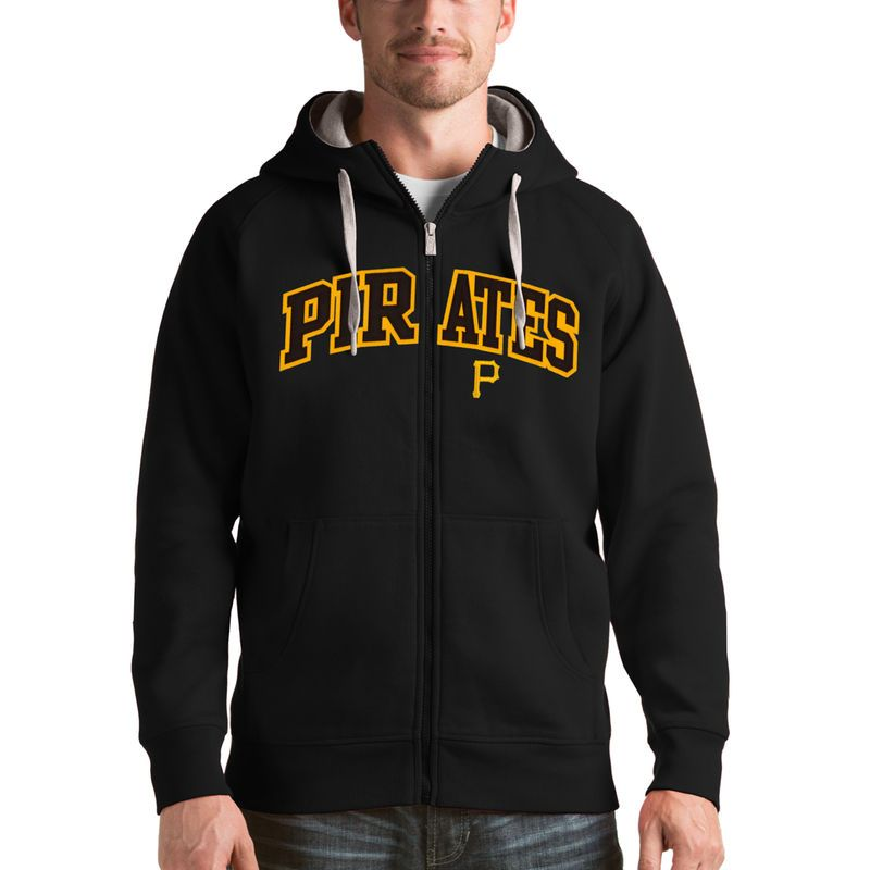 Pittsburgh Pirates Antigua Victory Full-Zip Hoodie - Black