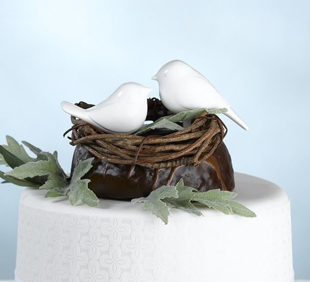 Pair of White Love Birds Wedding Cake Topper Cake Picks