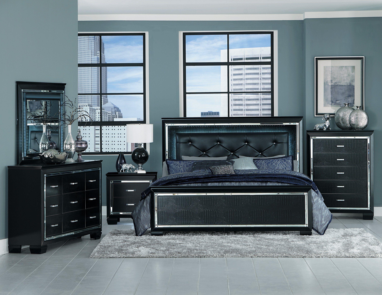 Allura Black Led Panel Bedroom Set In 2021 Black Bedroom Sets Wood Bedroom Sets Bedroom Sets Queen Black queen bedroom set