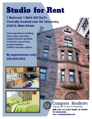 Apartment Rental Flyer. Great For Student Housing, Apartments, Studios Or  Houses Available For Rent Try This Free Template Now Using The PageProdigy  Cloud ...
