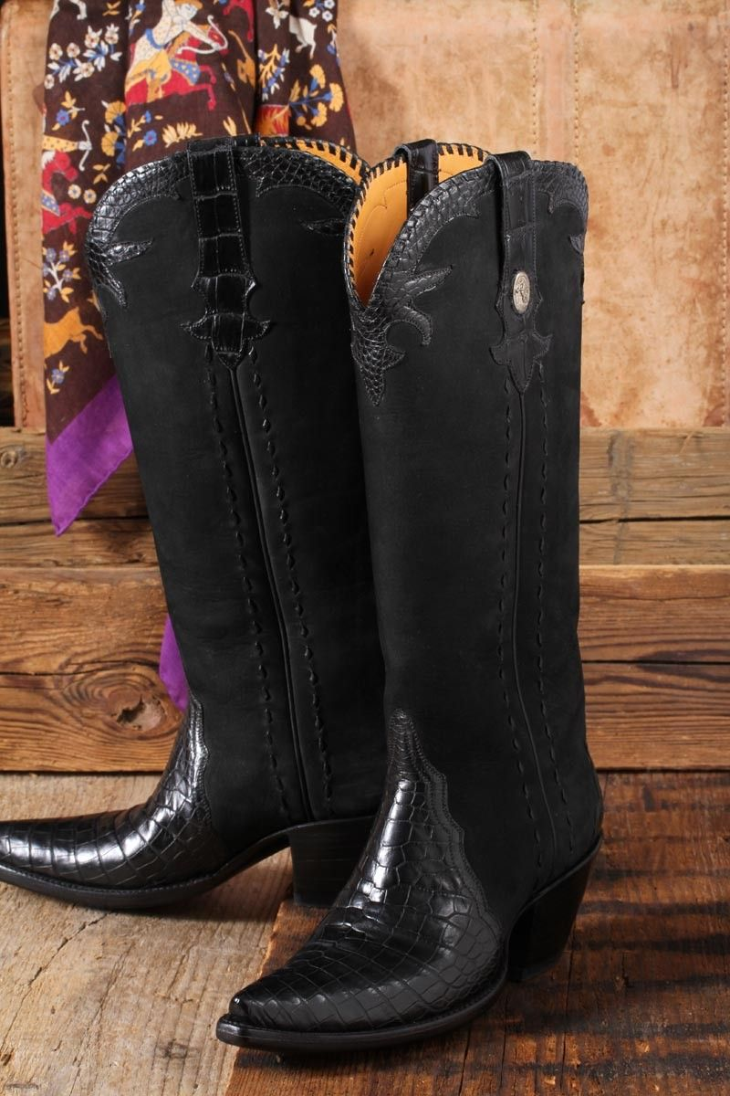 Tall Alligator Gallegos - Tall boot with sueded upper and alligator vamp and accents. Stallion boots run 1/2 size big.