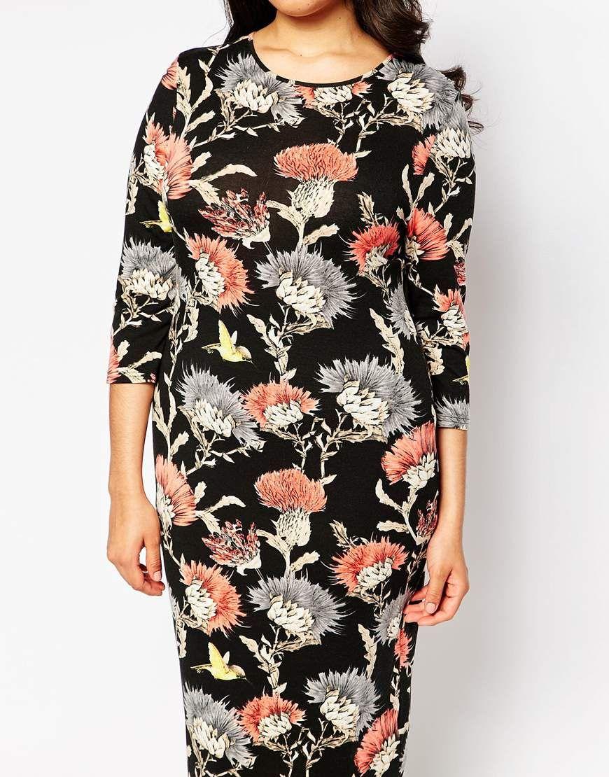 Immagine 3 di Club L - Vestito taglia comoda longuette con stampa a fiori e uccelli