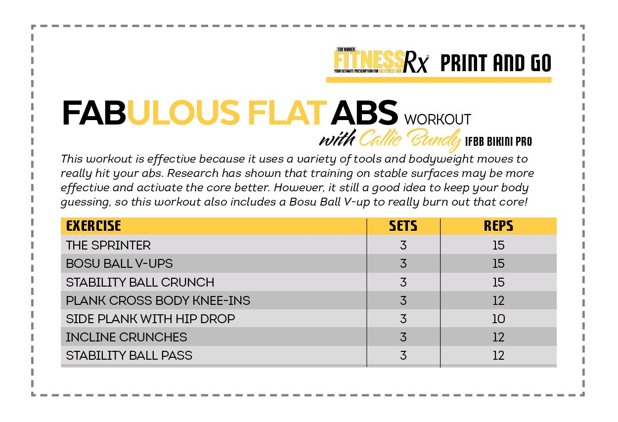 Fabulous Flat Abs With Ifbb Bikini Pro Callie Bundy Fitness Timesaving Fullbody Circuit Fitnessrx For Women Motivation Training