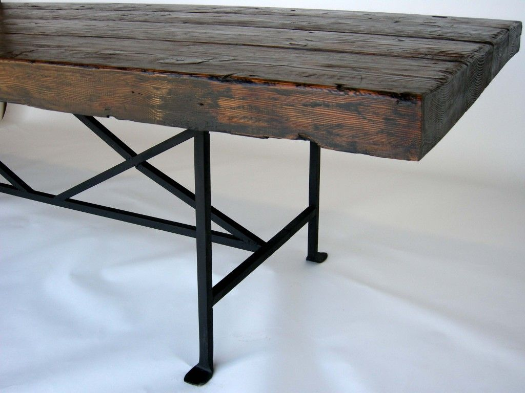 Reclaimed wood dining table with hand forged iron base reclaimed wood dining table and woods - Kitchen table bases ...