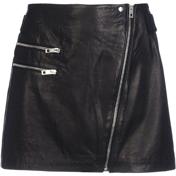 Rag & Bone Leather Skirt (4,310 MXN) ❤ liked on Polyvore featuring skirts, bottoms, saias, black, zipper skirt, leather skirt, real leather skirt, leather zipper skirt and lined skirt