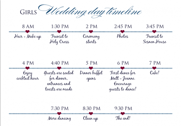 bridal party timeline for the day