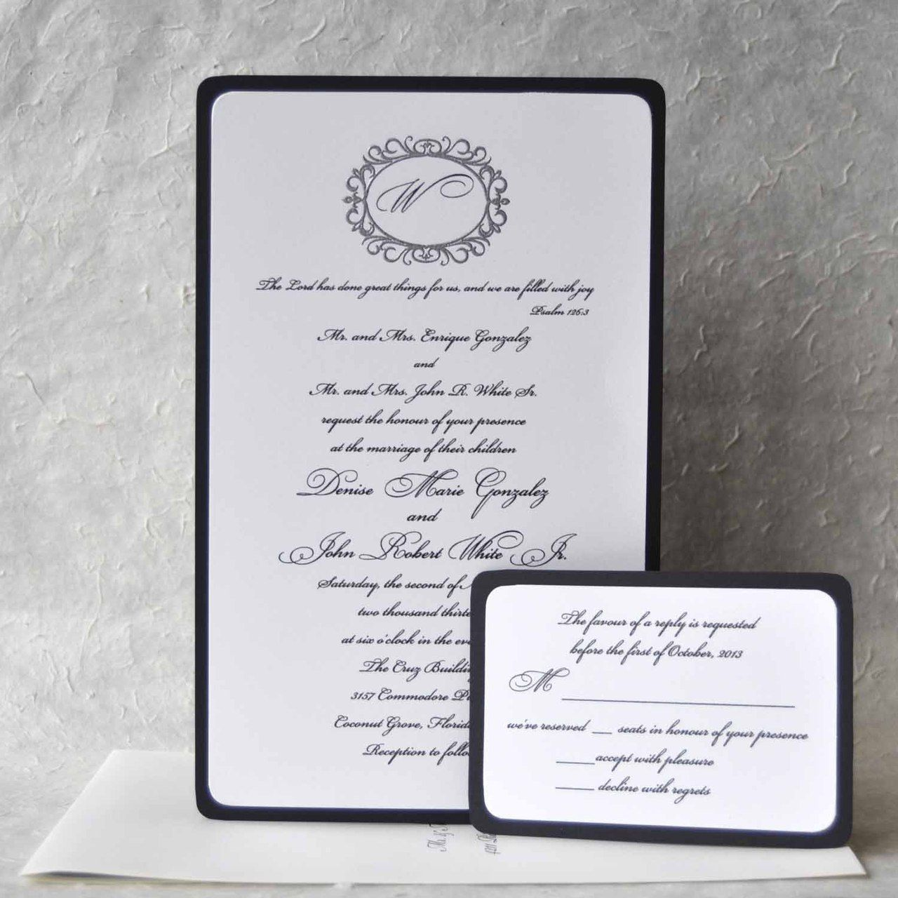 Wedding Invitations two layers black and white