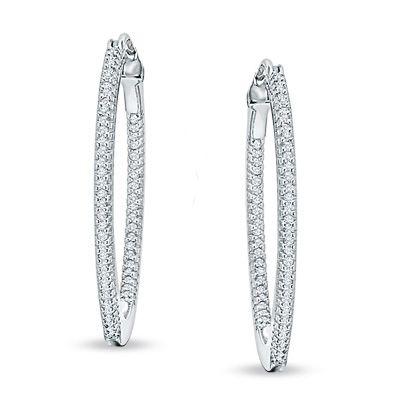 T W Diamond Medium Inside Out Hoop Earrings In Sterling Silver
