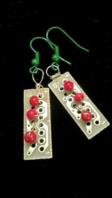 Mixed media circuit earrings by Rox V of The Bird's Nest.