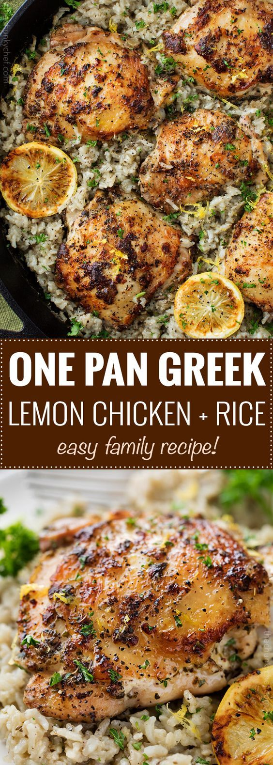 ONE PAN GREEK LEMON CHICKEN AND RICE #greeklemonrice