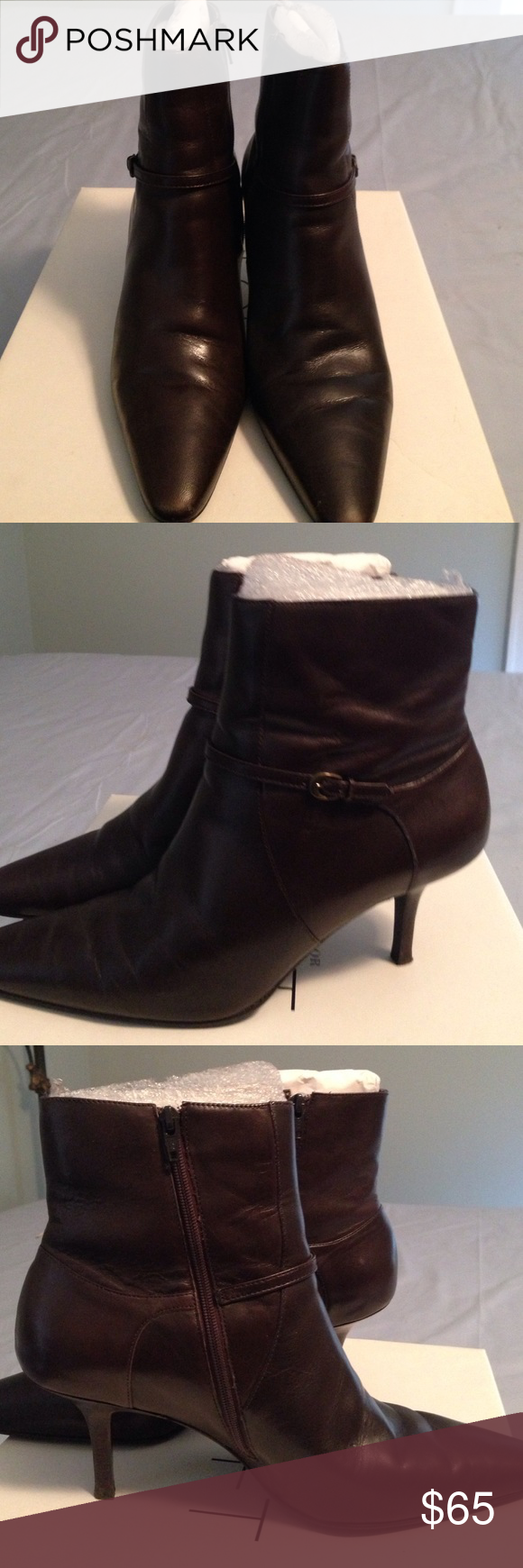 LOFT Dark brown leather booties Dark brown ankle boots, 3in heel, 7 in shaft LOFT Shoes Ankle Boots & Booties