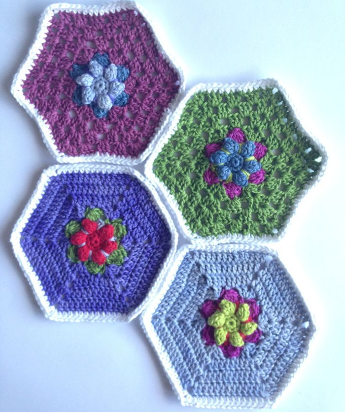 Hexagons In Bloom patterns | crochetime | Frida\'s Flowers | Pinterest