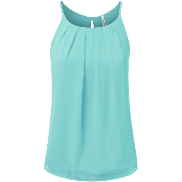 JJ Perfection Women's Round Neck Front Pleated Chiffon Cami Tank Top (£16) ❤ liked on Polyvore featuring tops, cami tank tops, chiffon cami, chiffon cami top, camisole tank tops and chiffon camisole
