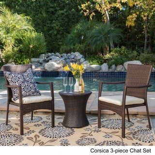 Outdoor Wicker Chat Set With Cushions