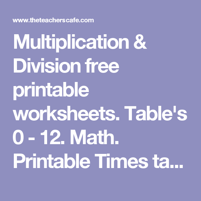 Multiplication  Division Free Printable Worksheets TableS