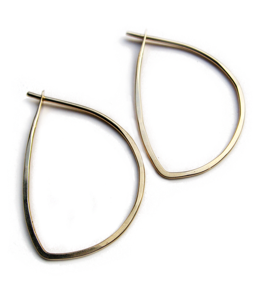 """Delicate hand-shaped hoop variations. earrings measure about 1-1/4"""" long choose 14k gold fill or recycled sterling silver"""