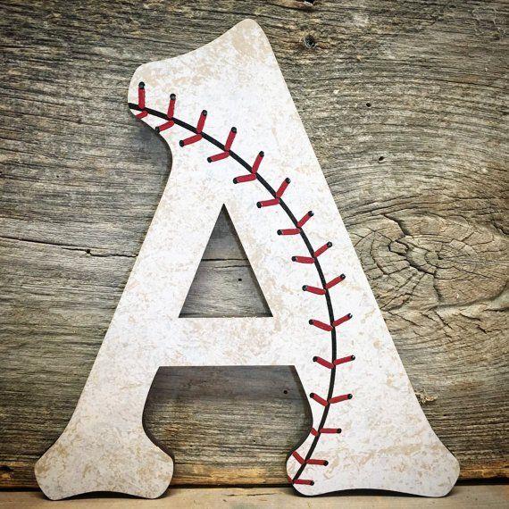 Baseball Decor Nursery Wall Letters Wood
