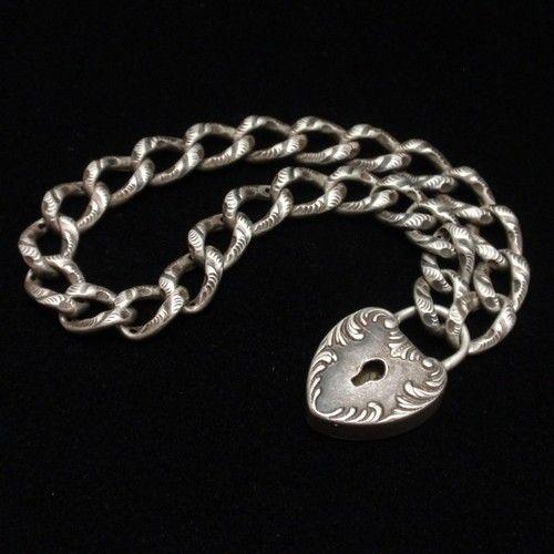 Curb Link Charm Bracelet Heart Shaped Padlock Vintage Sterling Silver Engraved   eBay