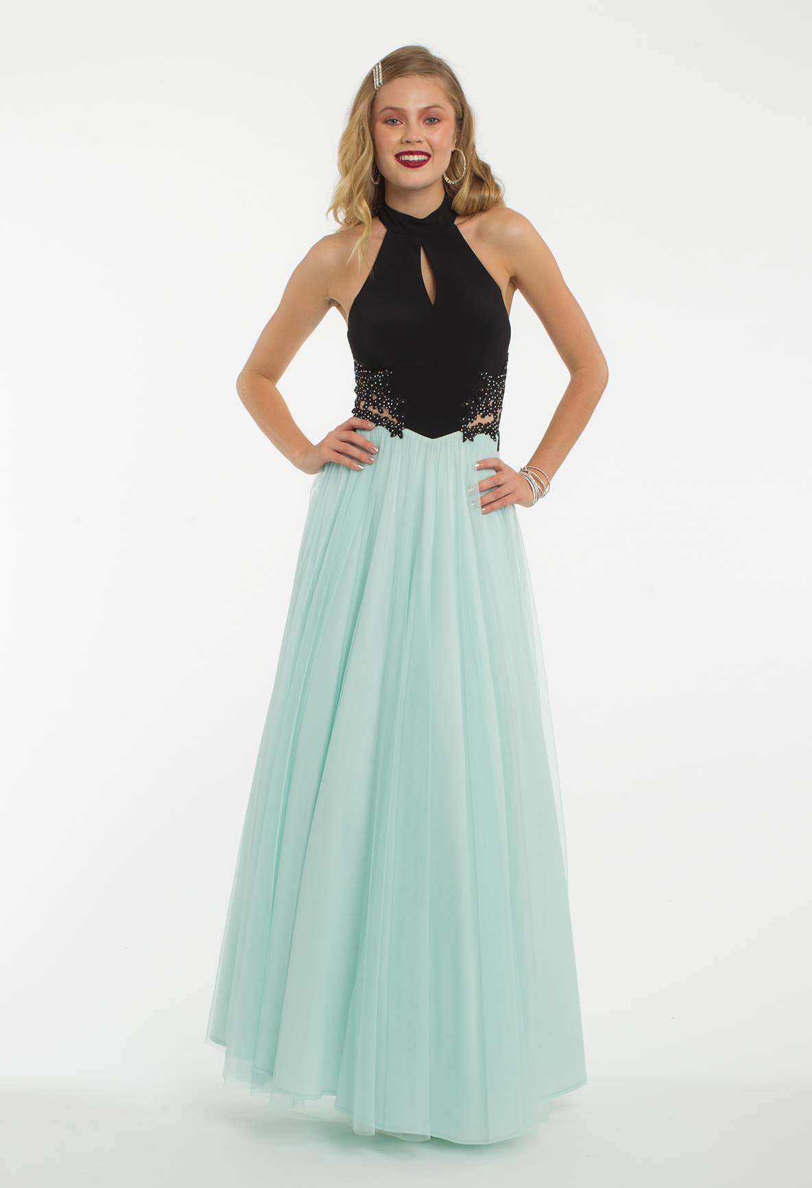 647d0bf12c Keep it comfy and trendy with this long prom dress! The halter keyhole  neckline