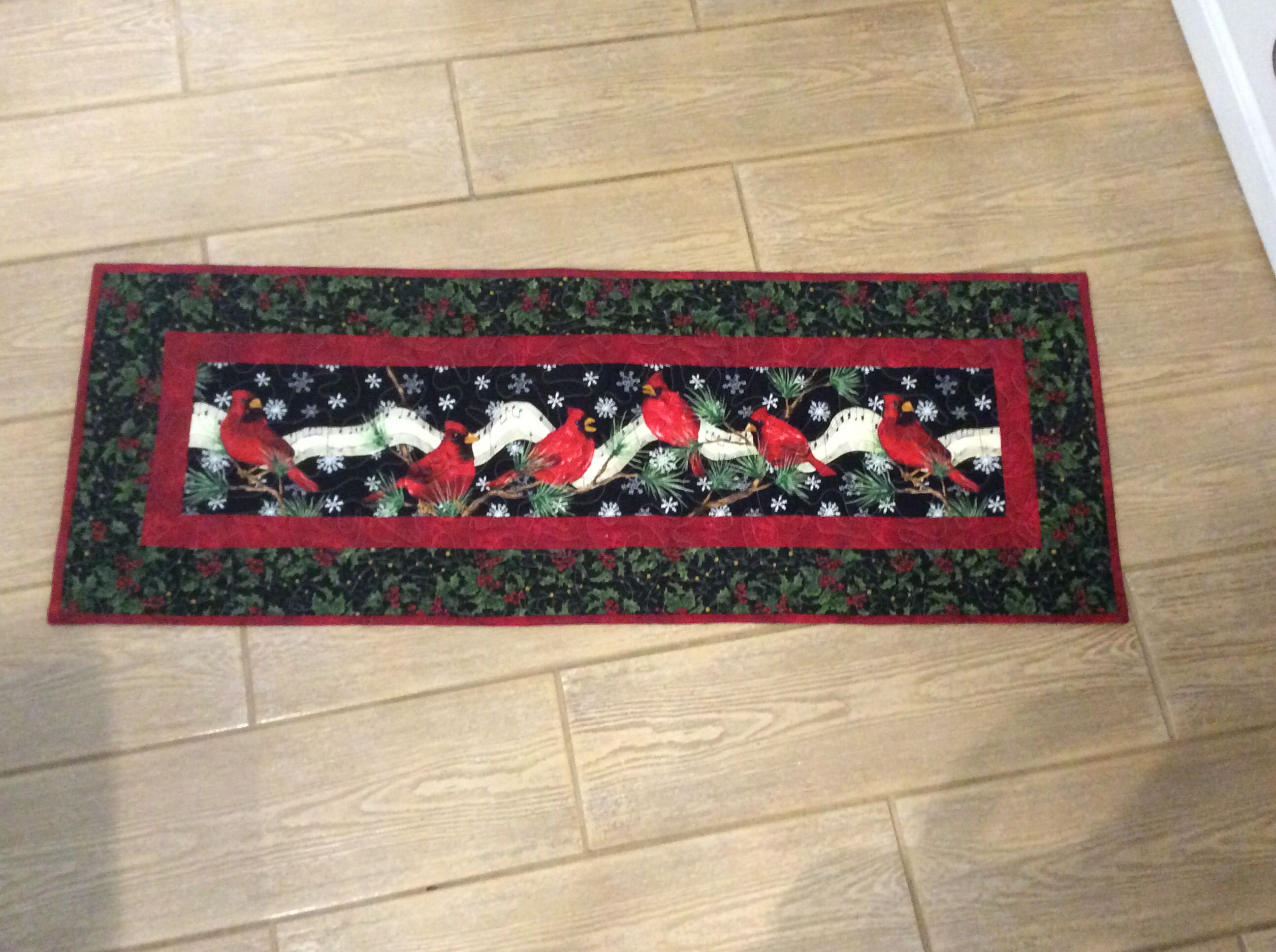 """11/06...36"""" by 13"""" tablerunner. Center is fussy cut and added 2 borders"""