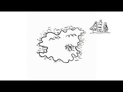 Pirate Treasure Map Drawing Time Lapse 2D Animation