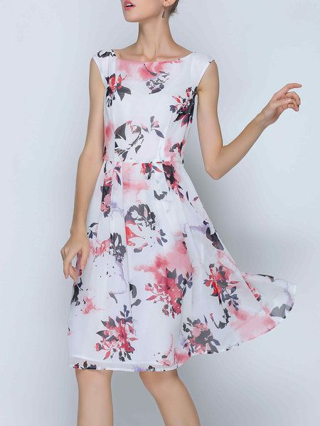 ebc76ce0c53 White Floral Sleeveless Chiffon Midi Dress
