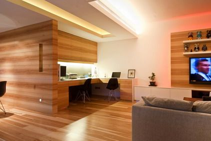 Wood Office Wall and Furniture in Small Modern Office Interior ...