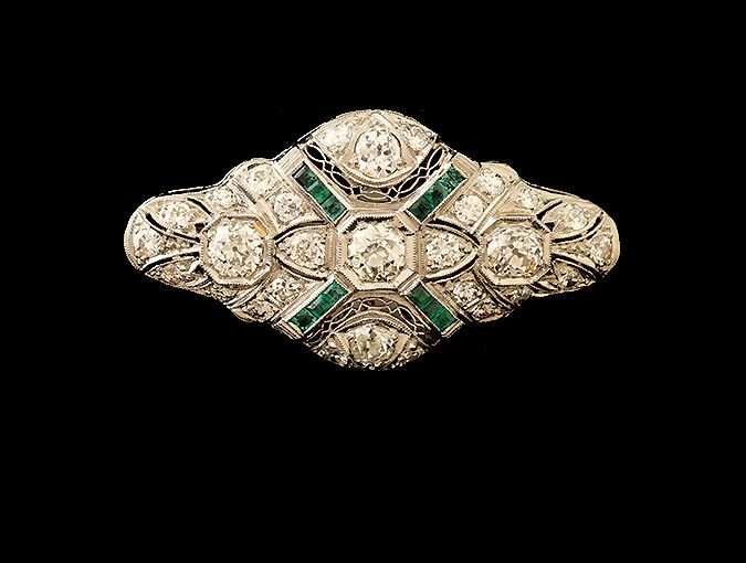 Vintage Platinum Brooch With Diamonds And Emeralds   $3, 900