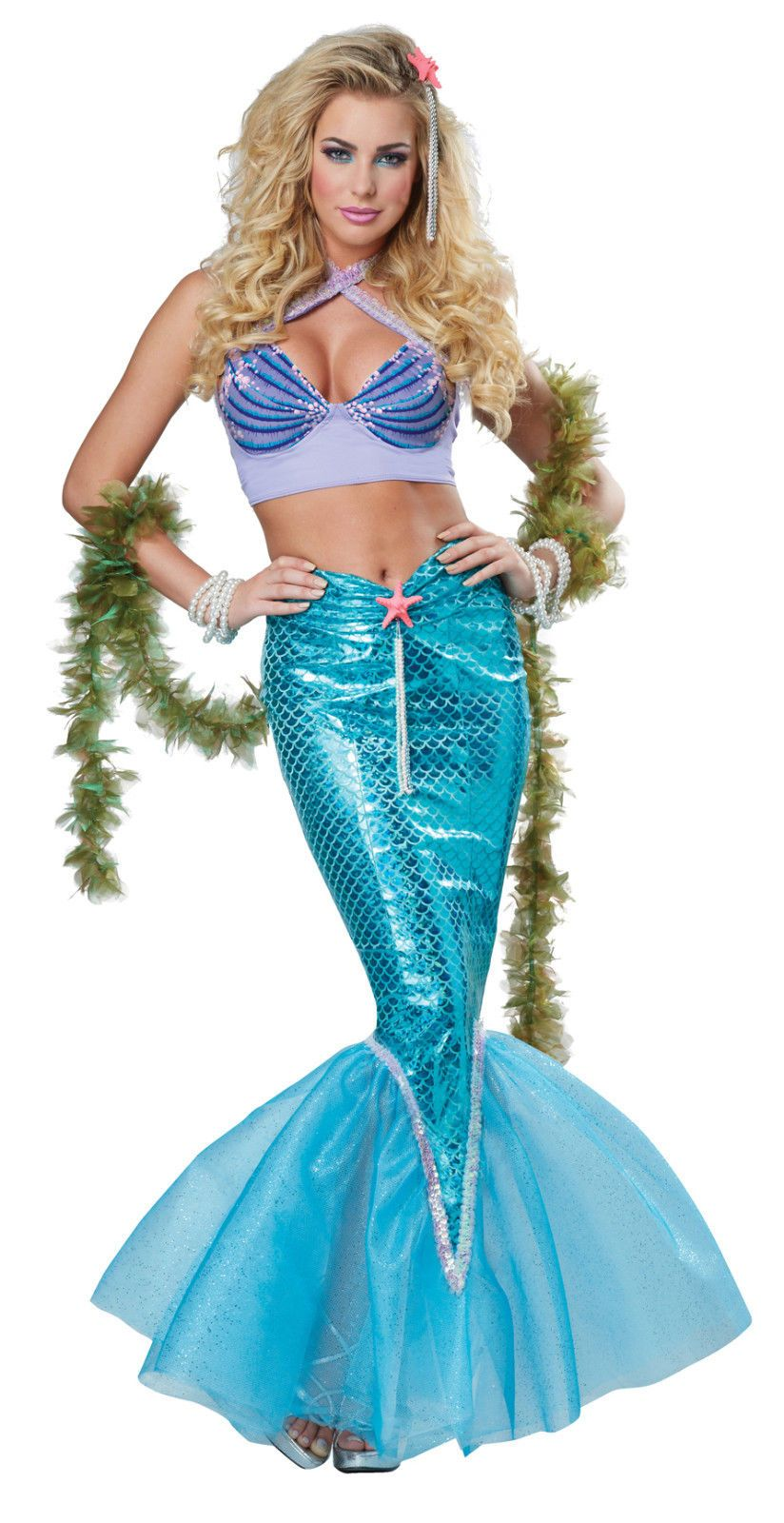 Details about Sexy Disney Deluxe Ariel Mermaid Dress Outfit Adult ... c3cb2b8f035a