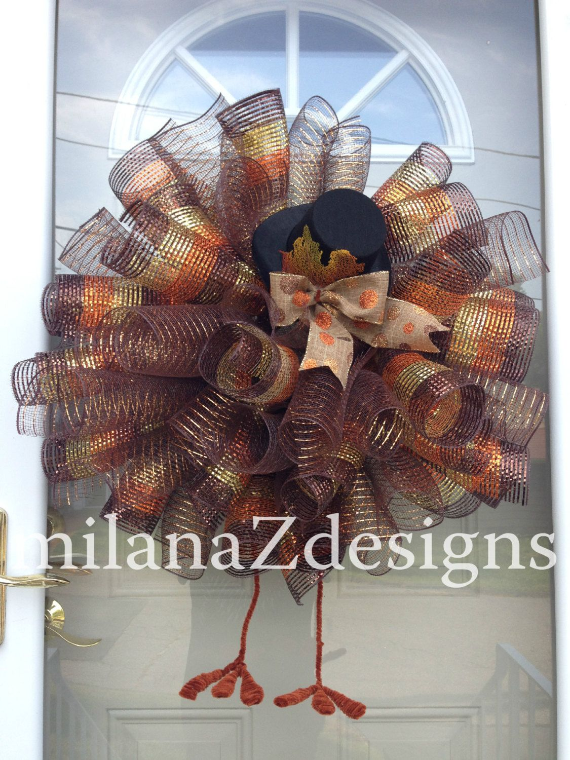 Photo of XL Deco Mesh Fall Wreath, Thanksgiving Turkey Wreath with Legs and Hat, Brown and Orange Autumn Door Wreath, Harvest Wall Decorations