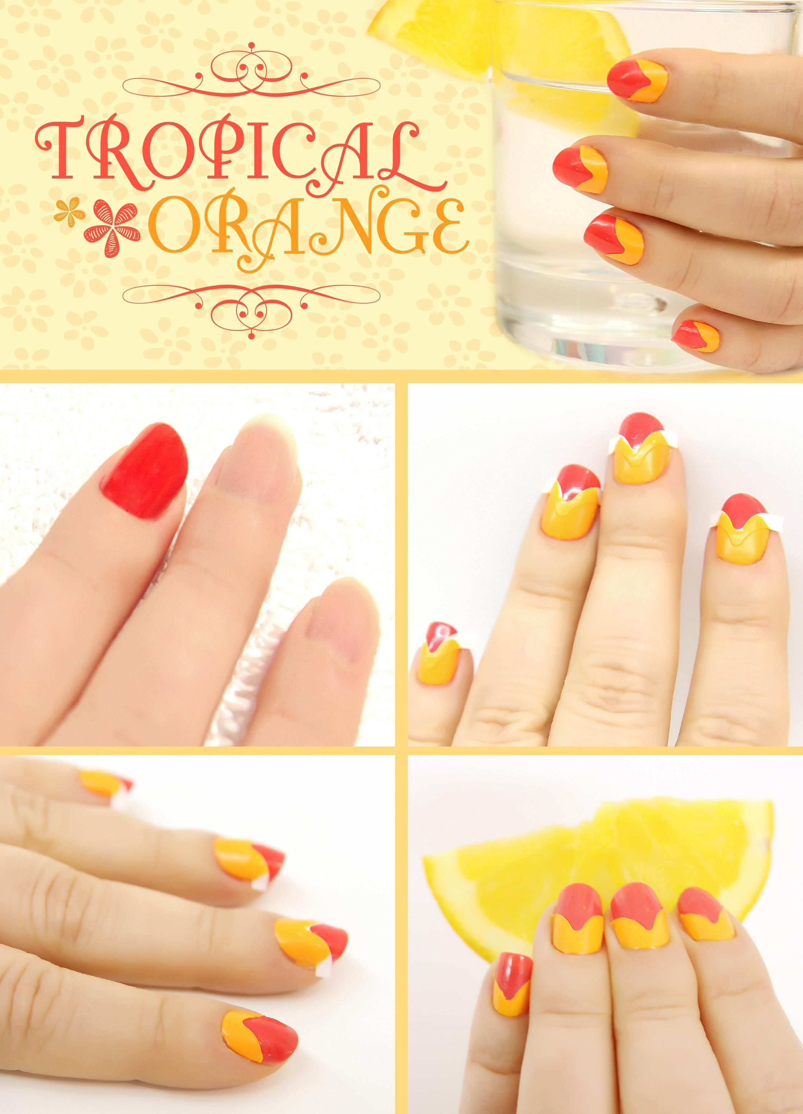DIY Nails Art :DIY Neon Nails Art : DIY Tropical Orange Nail ...