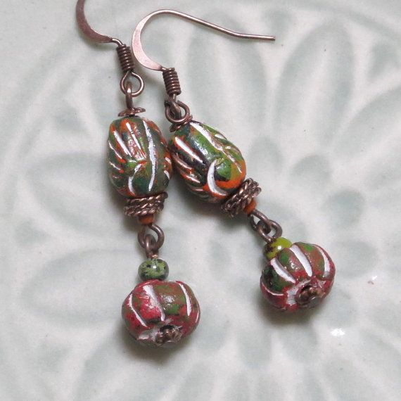 Unique India Clay Beads Earrings With Olive Green And Dark Red Copper