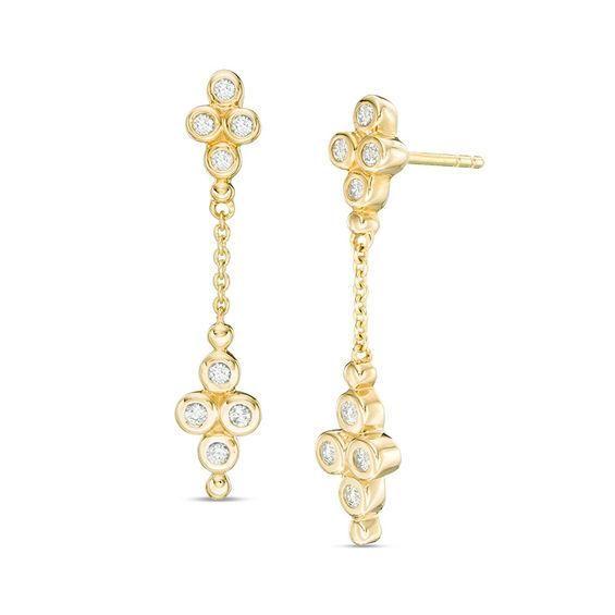 Zales Single Chain Drop Earrings in 14K Gold 3XSnjG4rf
