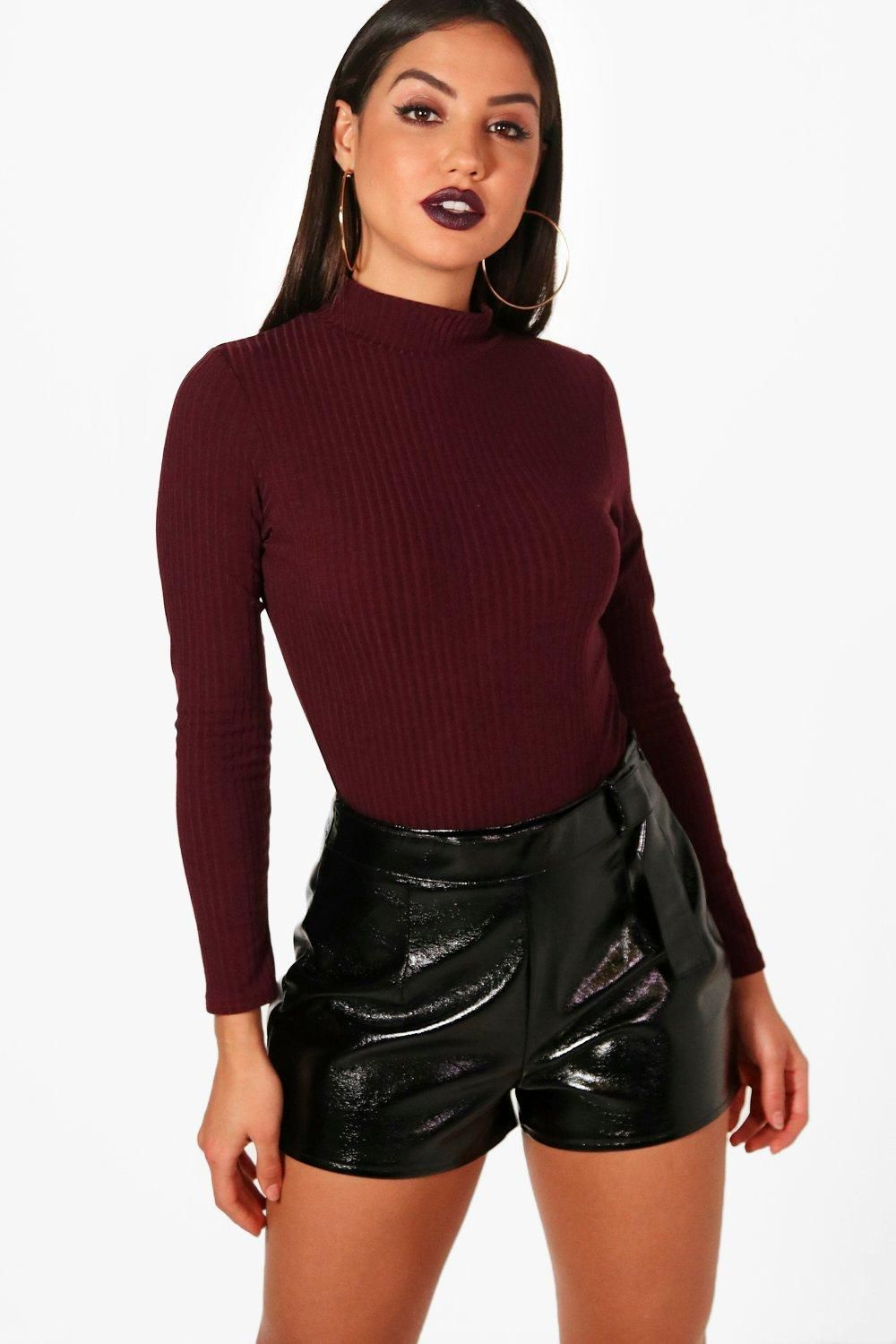 12147192a Turtle Neck Long Sleeve Knitted Rib Bodysuit | shopping - clothing ...