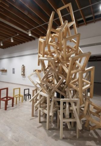 Acts Of Chairism The Chairs Are Personified Won 1st At A Chair Stacking Competition And Have One Of These Chairs In My Living Art Chair Installation Design