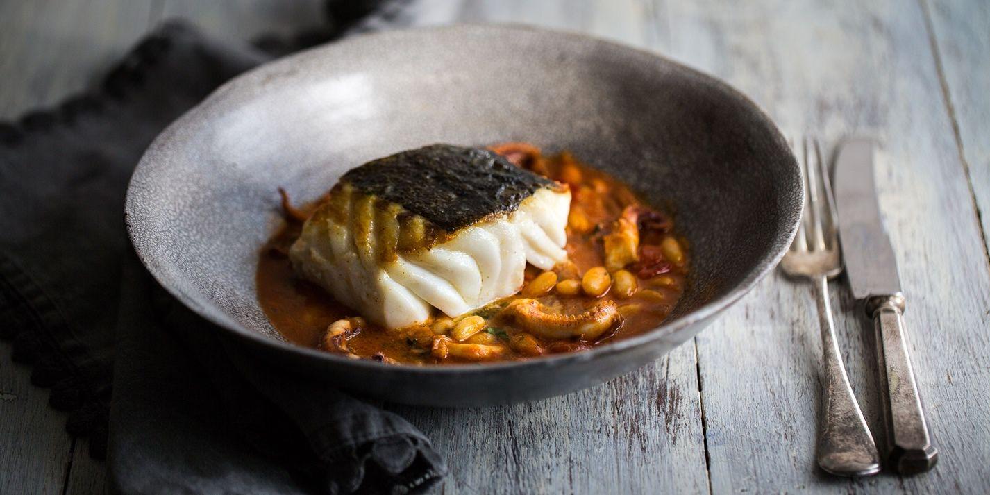 Braised Squid with Skrei Cod Loin Recipe - Great British Chefs