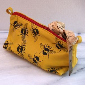 Soft Leather Bees Make Up Bag