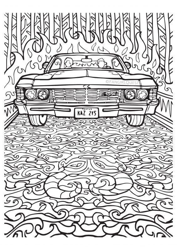 supernatural coloring pages Supernatural coloring images: Impala '67 / Baby | Coloring  supernatural coloring pages