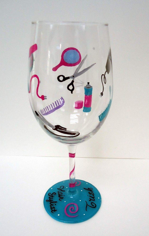 Hair stylist christmas ornaments - Hair Stylist Glass Hand Painted Wine Glass Hairstylist Hair Dresser