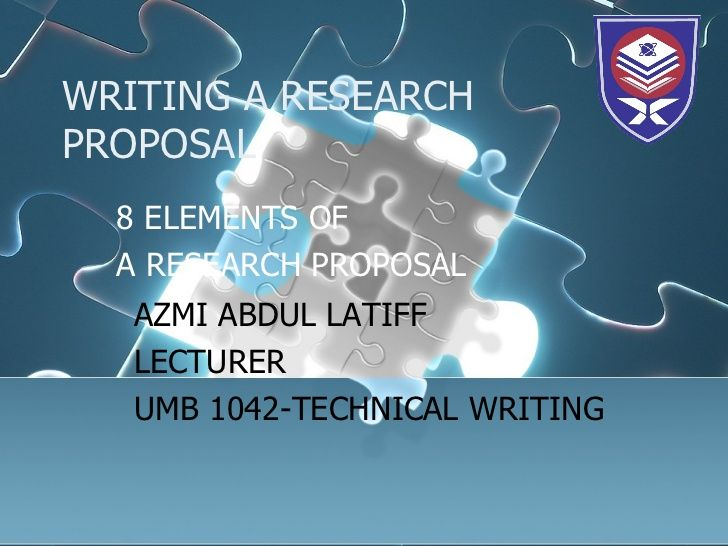 Writing A Research Proposal  Elements Of A Research Proposal Azmi