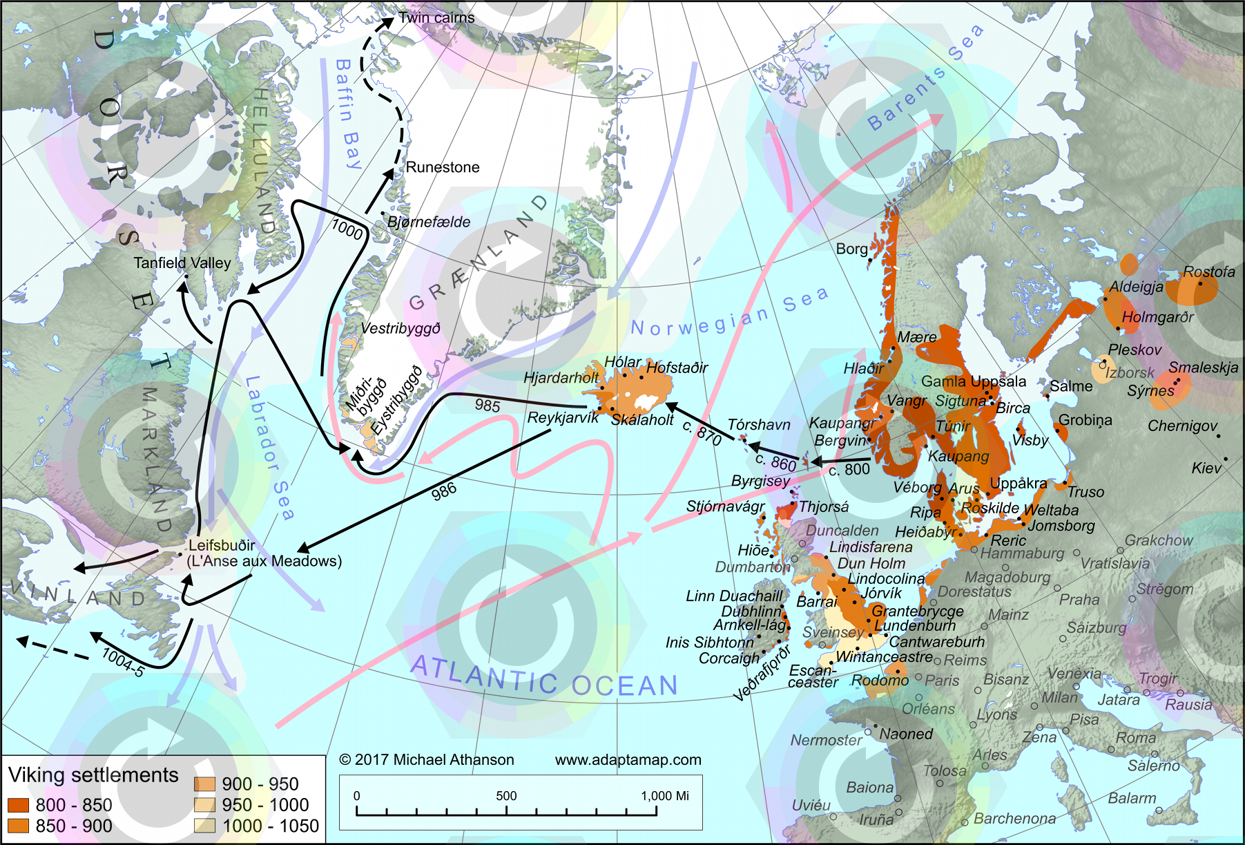 a map illustrating viking exploration and settlement throughout