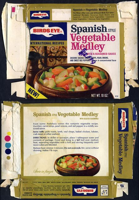 birds eye vegetable BOXES   Birds Eye International Recipes - Spanish Vegetable Medley box - 1970 ...