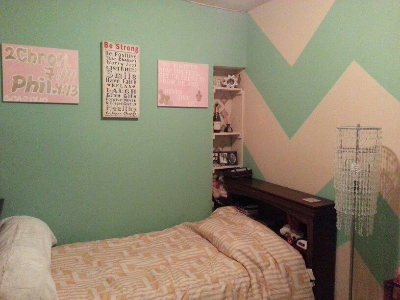 Mint Bedroom, Chevron Walls, Target Chandelier Lamp, And