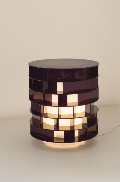 Gianni Colombo; Plexiglas 'Struttura Acentrica' Table Lamp, 1968.
