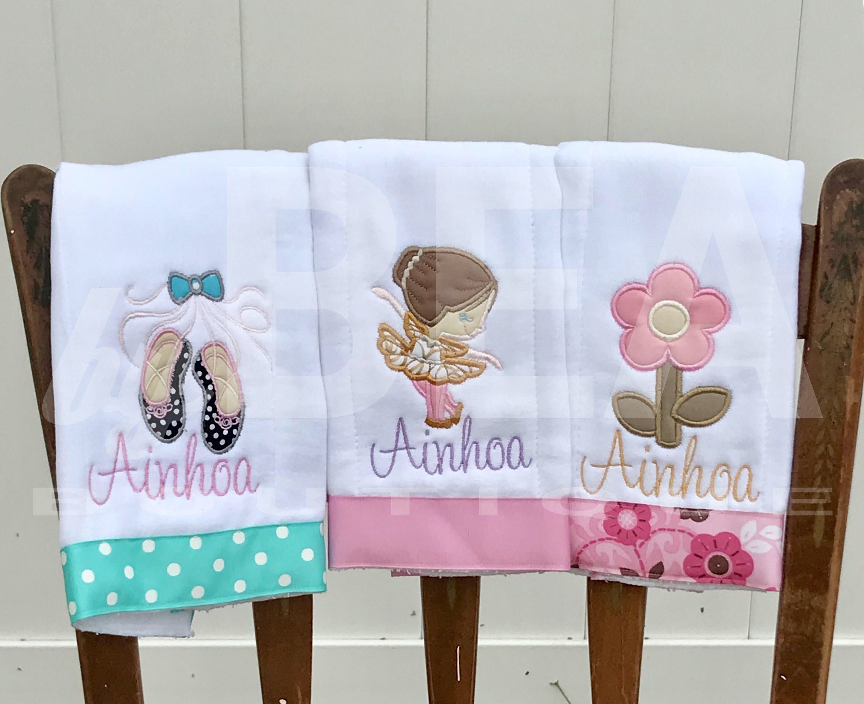 Personalized ballerina theme burp cloth set custom gift for baby personalized ballerina theme burp cloth set custom gift for baby girl baby shower gift negle Gallery