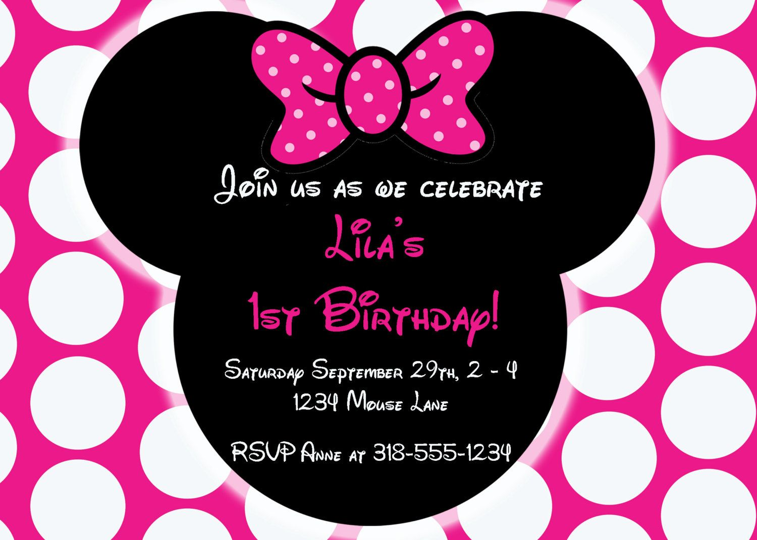 Free Editable Minnie Mouse Birthday Invitations