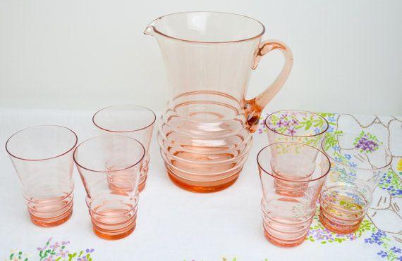 1950s mid century pink lemonade set and x6 by tillyandarthur