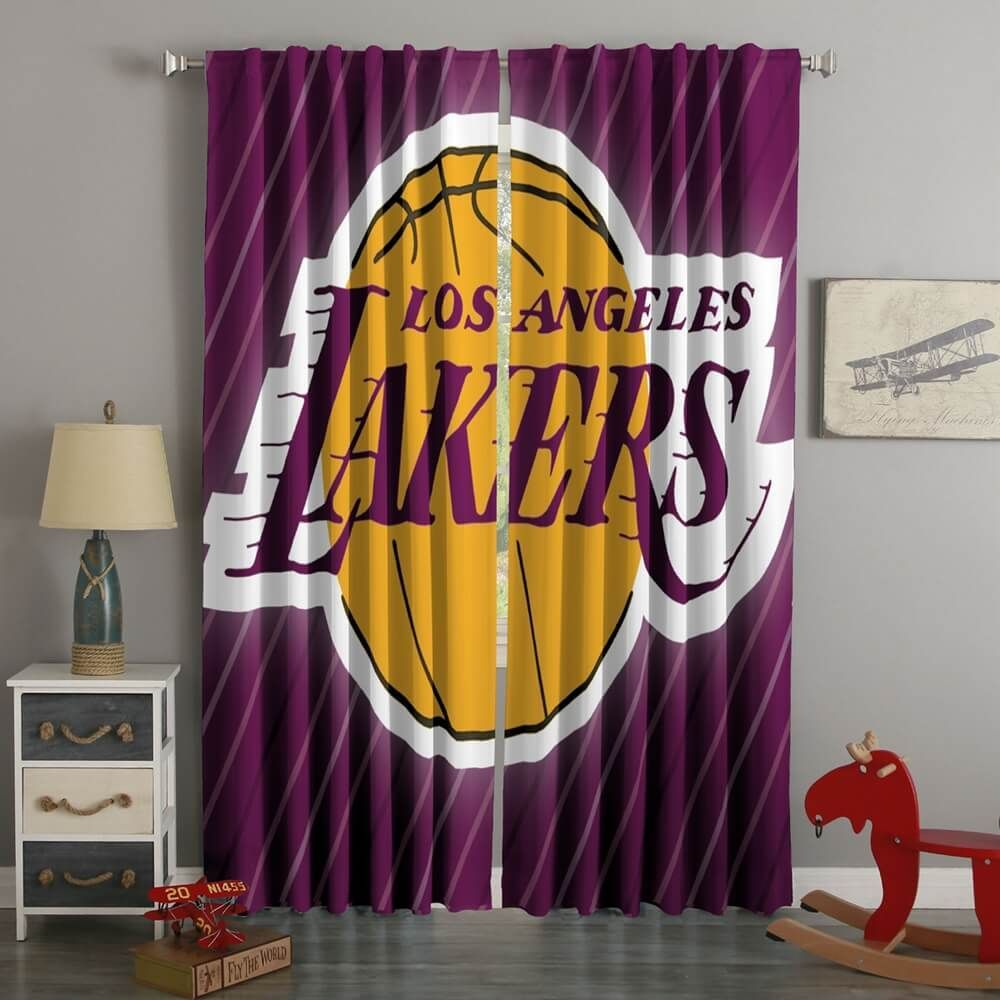 3d Printed Los Angeles Lakers Style Custom Living Room Curtains