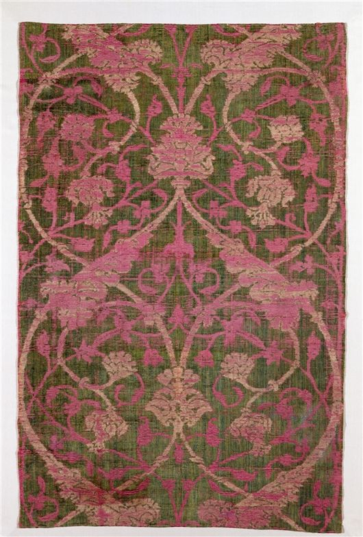 rug, wallpaper, textile, covering, duvet inspiration, pink, olive green, damask, ornate, faded, patina, beige repin: VELVET PANEL late 15th c